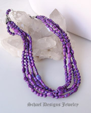 Schaef Designs 4 strand purple turquoise & sterling silver Southwestern necklace | great for Schaef Designs, Rocki Gorman, Gary G, Dan Dodson pendants | upscale online Native American Southwestern Equine Jewelry gallery boutique | Schaef Designs artisan hand-crafted jewelry | New Mexico
