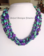 Schaef Designs purple turquoise, turquoise, amethyst, sterling silver 5 strand choker layering necklace great with Schaef Designs, david troutman, rocki Gorman, gary g pendants | Native American Jewelry  | online upscale native american & southwestern jewelry boutique gallery| Schaef Designs Southwestern turquoise Jewelry | New Mexico