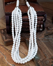 Schaef Designs white agate & sterling silver 5 strand necklace | great with Rocki Gorman, Gary G, & Schaef Designs pendants | Vintage Collection | Native American Jewelry  | online upscale native american & southwestern jewelry boutique gallery| Schaef Designs Southwestern turquoise Jewelry | New Mexico