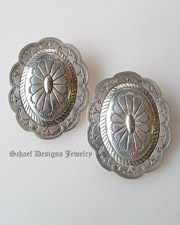 Sterling silver large concho post Earrings | Upscale online Native American, Southwestern, Turquoise, & Equine Jewelry gallery boutique | Schaef Designs Southwestern Jewelry | New Mexico