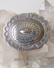 Large sterling silver concho pin brooch | unsigned Native American Jewelry  | online upscale native american jewelry boutique gallery| Schaef Designs Southwestern turquoise Jewelry | New Mexico