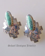 Spiderweb Turquoise & Sterling Silver artist Signed HJ post earrings | old pawn | Schaef Designs Native American Southwestern & Equine Jewelry | Online upscale southwestern equine jewelry boutique gallery | New Mexico