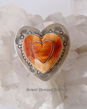 Gary G double heart stacked orange spiny oyster 3-d heart ring | Schaef Designs Southwestern Turquoise Jewelry| New Mexico