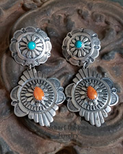 Southwestern orange spiny oyster shell, blue turquoise & stamped sterling silver double concho POST earrings | upscale online Native American Southwestern Equine Jewelry gallery boutique | Schaef Designs artisan hand-crafted jewelry |New Mexico