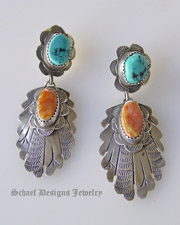 Old pawn Blue Turquoise & orange spiny oyster shell & Stamped Sterling Silver POST Earrings | Native American Turquoise Jewelry | Schaef Designs Collectible artisan handcrafted Southwestern & Equine Jewelry | New Mexico