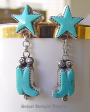 Artist signed Rocki Gorman Gary G turquoise star & boot & sterling silver old santa fe style dangle earrings | Native American Turquoise online Jewelry Gallery | Schaef Designs Collectible artisan handcrafted Southwestern & Equine Jewelry | New Mexico
