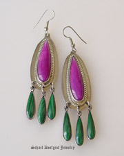 RARE high grade sugilite, malachite & sterling silver wire Earrings | Upscale online Native American, Southwestern, Turquoise, & Equine Jewelry gallery boutique | Schaef Designs Southwestern Jewelry | New Mexico