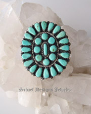 Old pawn Blue Turquoise & Sterling Silver large cluster ring | Collectible Native American Turquoise online Jewelry gallery | Schaef Designs Collectible artisan handcrafted Southwestern & Equine Jewelry | New Mexico