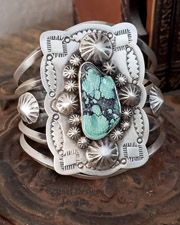 Schaef Designs carved turquoise lizard on stamped sterling silver Southwestern Totem Animal Cuff Bracelet | cuff bracelet | Schaef Designs Southwestern, totem animal & Equine Jewelry | Online upscale southwestern jewelry boutique | New Mexico