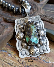 Schaef Designs carved turquoise lizard on stamped sterling silver Southwestern Totem Animal Pendant | cuff bracelet | Schaef Designs Southwestern, totem animal & Equine Jewelry | Online upscale southwestern jewelry boutique |New Mexico