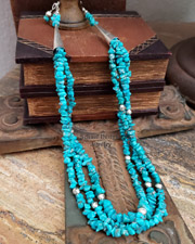 Long turquoise layering necklace great for Rocki Gorman Pendants |Schaef Designs Jewelry | New Mexico