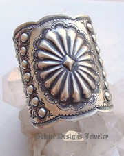 Vince Platero VJP signed LARGE sterling silver stamped repousse cuff bracelet | collectible Native American jewelry | Upscale online Southwestern, Equine, & Native American Jewelry Gallery Boutique | Schaef Designs artisan handcrafted Jewelry | New Mexico