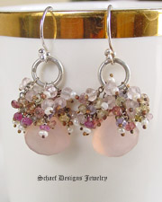 Miriam Haskell inspired pink chalcedony and sapphire gemstone earrings |Handcrafted Fine Jewelry | Luxe Gemstone and Sterling Silver Dangle Earrings