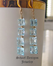 Swiss Blue Topaz Square cut gemstones & 22kt gold vermeil dangle french wire earrings | Online upscale artisan handcrafted gemstone jewelry boutique | Schaef Designs artisan hand-crafted gemstone earrings | San Diego, CA