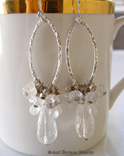 Large Faceted Clear Crystal teardrops topped with sterling silver & moonstone & crystal nuggets and hammered silver link dangle earrings | online upscale artisan handcrafted jewelry boutique | Schaef Designs gemstone & pearl earrings | San Diego, CA