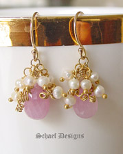 Pink Sapphire Briolettes Seed Pearls and 24kt Gold Vermeil | Luxe Gemstone and 24kt Gold Vermeil Dangle Earrings