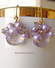 Mystic Pink Amethyst Briolettes,  crowned with lavendar pearls & amethysts 22kt gold vermeil gemstone earrings |Petite Luxe Collection | Online upscale artisan handcrafted jewelry boutique | Schaef Designs Jewelry Gemstone Earrings | San Diego, CA