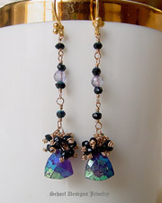 Deep purple mystic amethyst and black spinel on 22kt gold vermeil dangle earrings | online upscale artisan handcrafted jewelry boutique | Schaef Designs gemstone & pearl earrings | San Diego, CA