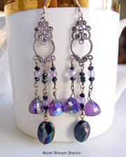 Marcasite and Lavendar and Pink Amethyst Dangle Earrings