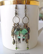 Bronze peruvian opal & biwa pearl gemstone earrings | Schaef Designs artisan hand-crafted gemstone jewelry | upscale online gemstone, southwestern, native american, turquoise jewelry gallery | San Diego, CA