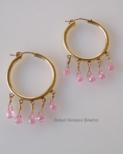 Pink brioleete cz & 22kt gold vermeil hoop Earrings | Schaef Designs artisan handcrafted gemstone & pearl earrings | online upscale jewelry boutique | San Diego, CA