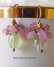 Carmel Colored Chalcedony briolette encrusted with small amethysts and vintage glass hand linked in patinaed silver earrings | wire wrapped links | Artisan Gemstone Jewelry | Schaef Designs San Diego CA | Gemstone earrings