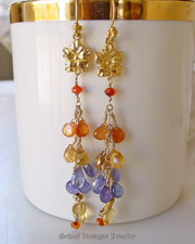 Tanzanite Citrine Sesparite Briolettes paired with Carnelian & 22kt gold vermeil long dangle gemstone earrings | Online upscale artisan handcrafted gemstone jewelry boutique | Schaef Designs gemstone earrings | San Diego, CA