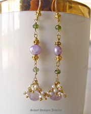 Pink amethyst onion cut briolettes, green tourmalines, seed pearls & 22kt gold vermeil Long Dangle Earrings | Schaef Designs artisan handcrafted gemstone & pearl earrings | online upscale jewelry boutique | San Diego, CA