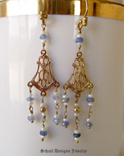 Blue sapphires & white seed pearls on 22kt gold vermeil dangle Victorian style earrings | online upscale artisan handcrafted jewelry boutique | Schaef Designs gemstone & pearl earrings | San Diego, CA