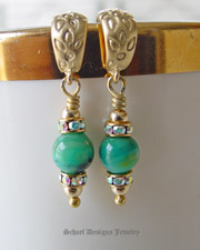 Deep blue green peruvian opals earrings with crystals on 22kt gold vermeil | artisan handcrafted gemstone jewelry by Schaef Designs Jewelry | online jewelry boutique | San Diego, CA