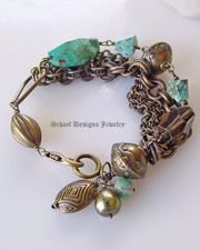 Chrysocolla Smokey Topaz Nuggets Large olive freshwater pearls bronze chains & beads multi strand bracelet | Bronze Collection | upscale online artisan handcrafted gemstone jewelry gallery boutique | Schaef Designs Artisan Handcrafted Gemstone Jewelry | New Mexico