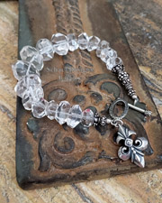 Clear Crystal Nugget & Sterling Silver Bracelet with Fleur de Lis Charm | Schaef Designs | Gemstone Bracelet | Schaef Designs Pearl Jewelry | New Mexico