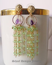 Schaef Designs Peridot, Amethyst & Gold Vermeil artisan handcrafted gemstone dangle earrings | Schaef Designs artisan handcrafted gemstone Jewelry | upscale online jewelry gallery boutique | San Diego, CA