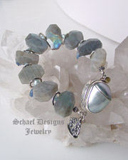 Schaef Designs Jewelry Labradorite, Kyanite, Freshwater Pearl & Sterling Silver gemstone bracelet | Schaef Designs artisan handcrafted gemstone Jewelry | upscale online jewelry gallery boutique |New Mexico