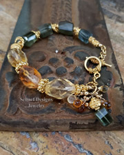 Gemstone and Gold bracelet of citrine, moss aquamarine, and peruvian opal| Schaef Designs gemstone & pearl artisan handcrafted jewelry | New Mexico