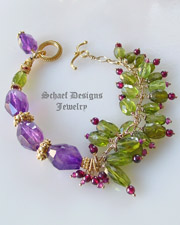 Amethyst, Peridot, Garnet & 24kt gold vermeil one of a kind gemstone bracelet | upscale online gemstone, & pearl jewelry gallery | Schaef Designs Artisan Handcrafted Gemstone Jewlery | New Mexico