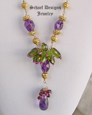 Amethyst, Peridot, Garnet & 24kt gold vermeil one of a kind necklace | upscale online gemstone, & pearl jewelry gallery | Schaef Designs Artisan Handcrafted Gemstone Jewlery | San Diego, CA