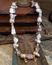Irridescent Pink to Peach Freshwater Pearls, Imperial Topaz & 22kt Gold Vermeil Necklace  | Online upscale artisan handcrafted pearl & gemstone jewelry boutique | Schaef Designs Pearl Jewelry | San Diego, CA