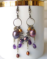 Bronze Pearl Amethyst artisan handcrafted earrings | Schaef Designs gemstone jewelry | online jewelry boutique | San Diego, CA