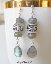 Labradorite and Sterling Silver Pandora Style Bead Dangle Earrings | online upscale artisan handcrafted pearl & gemstone jewelry boutique gallery | Schaef Designs gemstone jewelry, San Diego, CA