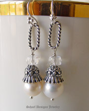 White pearl, crystal quarz & sterling silver figaro link dangle earrings | Signature Collection | online upscale designer jewelry boutique gallery | Schaef Designs designer gemstone jewelry | Couture Signature Collection | San Diego, CA