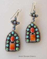 Don Lucas Multi Stone turquoise lapis coral gaspeite dangle earrings | Schaef Designs Turquoise Southwestern Jewelry | New Mexico