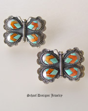Federico Inlaid Butterfly Earrings | Turqouise Spiny Oyster Shell Mother of Pearl MOP | Schaef Designs Upscale Southwestern Jewelry | online jewerly boutique | San Diego CA
