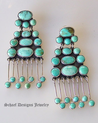 Jiminez Federico Turquoise & Sterling Silver Chandelier Post Dangle Earrings | upscale artisan handcrafted online jewelry gallery boutique | Schaef Designs Southwestern Turquoise Jewelry | San Diego CA