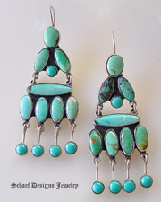 Federico signed turquoise chandelier clip earrings | Schaef Designs Jewelry | San Diego CA