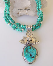 Bennie Ration Kachina Pendant on Schaef Designs Campitos Turquoise Sterling Silver Adjustable 3 strand necklace | Schaef Designs Jewelry | New Mexico