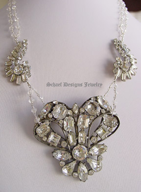 Schaef Designs antique vintage rhinestone brooch & crystal necklace with signed Vendome clasp | Online Jewelry Boutique |  Schaef Designs Vintage Brooch Jewelry | San Deigo, CA