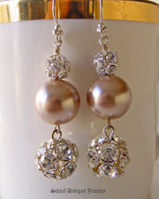 Vintage Champagne pearl & vintage rhinestone ball earrings  | Online upscale artisan handcrafted jewelry boutique | Schaef Designs Vintage Brooch Jewelry | San Diego, CA