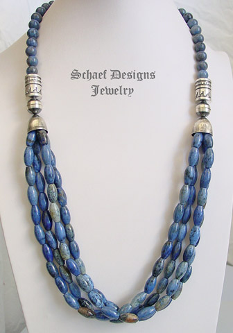 Schaef Designs Dumortierite Amp Sterling Silver Tube Bead