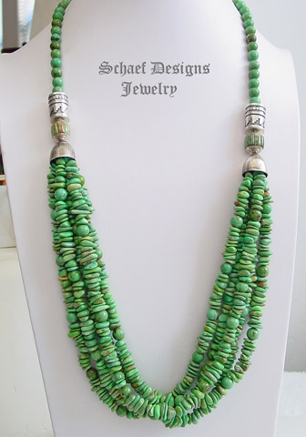 Schaef Designs Green Turquoise And Sterling Silver Tube